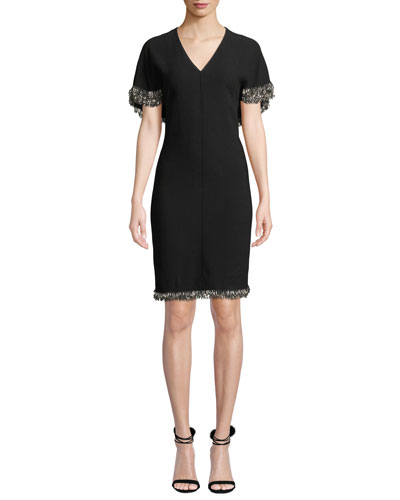 Merci Cape-Sleeve Sheath Dress with Beaded Fringe