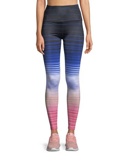 Lux Striped High-Waist Leggings
