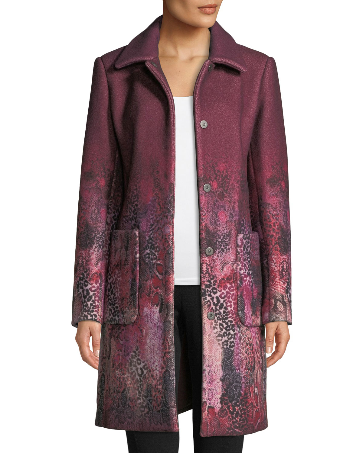TINDRA SINGLE-BREASTED DEGRADE ANIMAL-PRINT WOOL-BLEND COAT