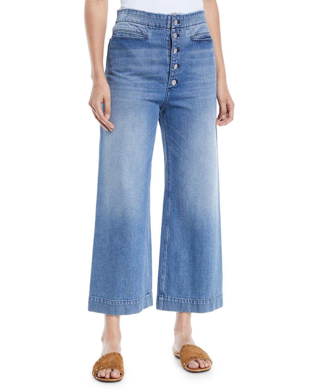 Patrick Cropped Wide-Leg Denim Pants