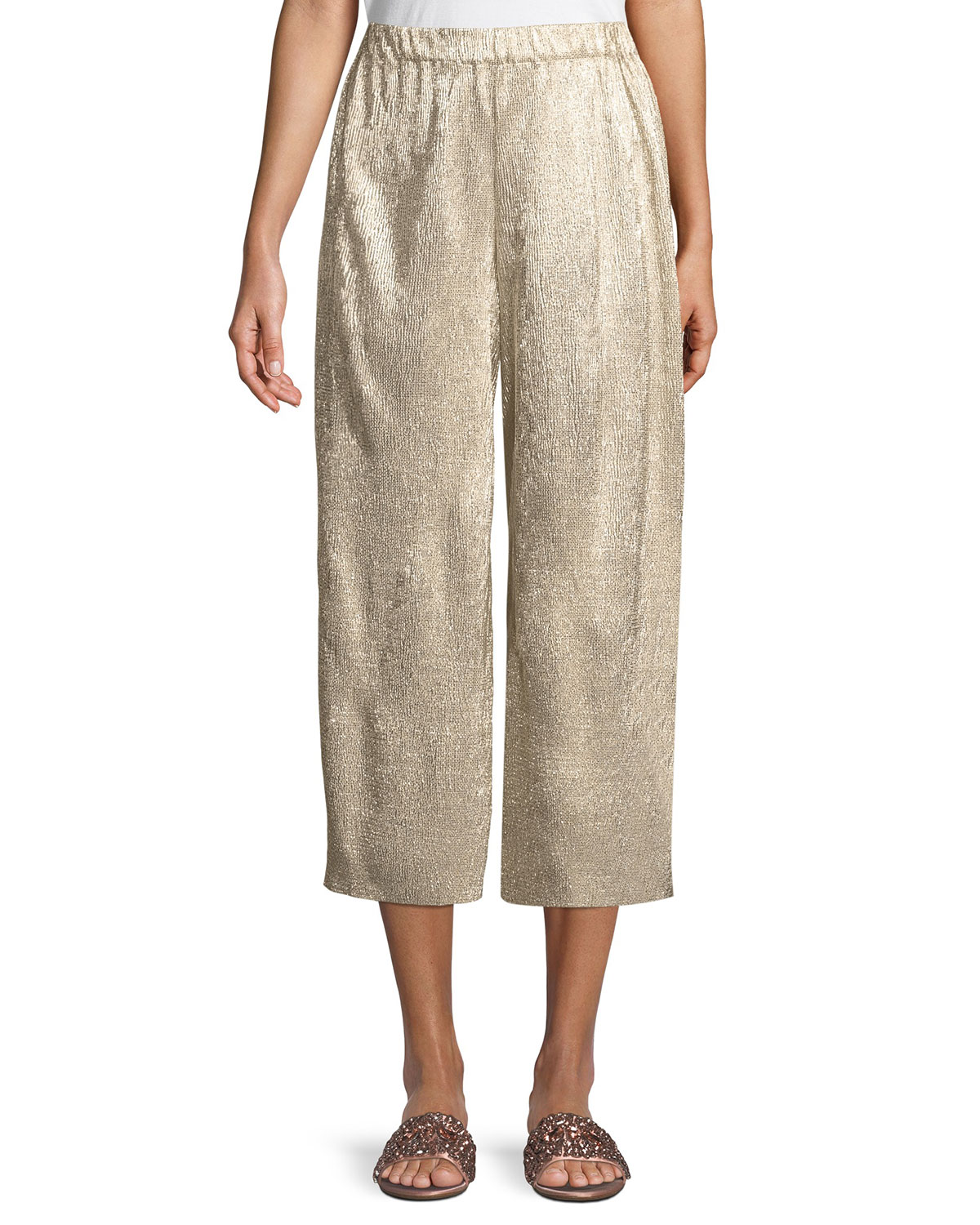 x Donald Robertson Elba Plisse Pull-On Cropped Wide-Leg Pants