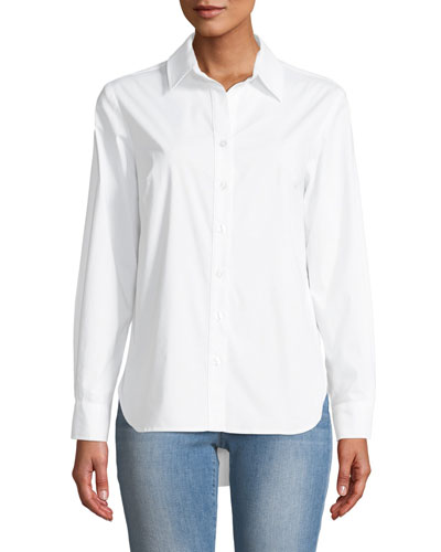 Diedre Pleat-Back Button-Down Shirt