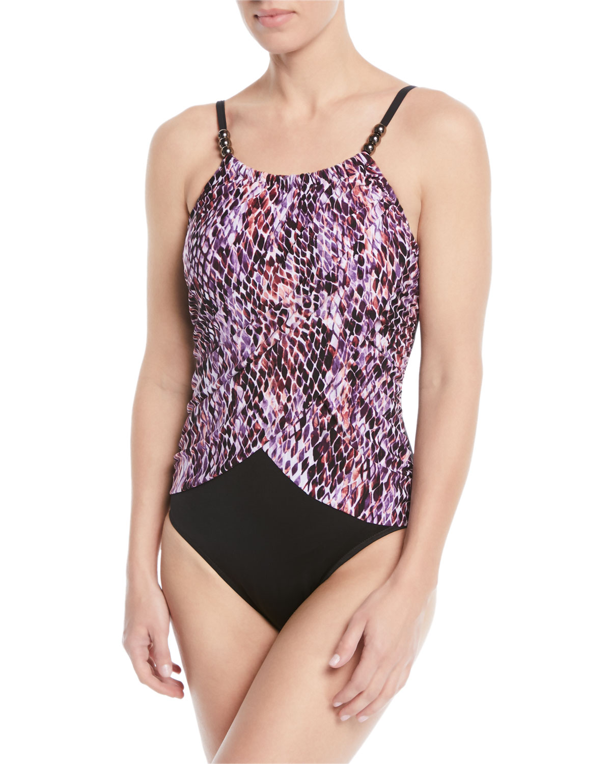 MAGICSUIT SNAKE CHARMER PRINTED HIGH-NECK SLIMMING ONE-PIECE SWIMSUIT WOMEN'S SWIMSUIT