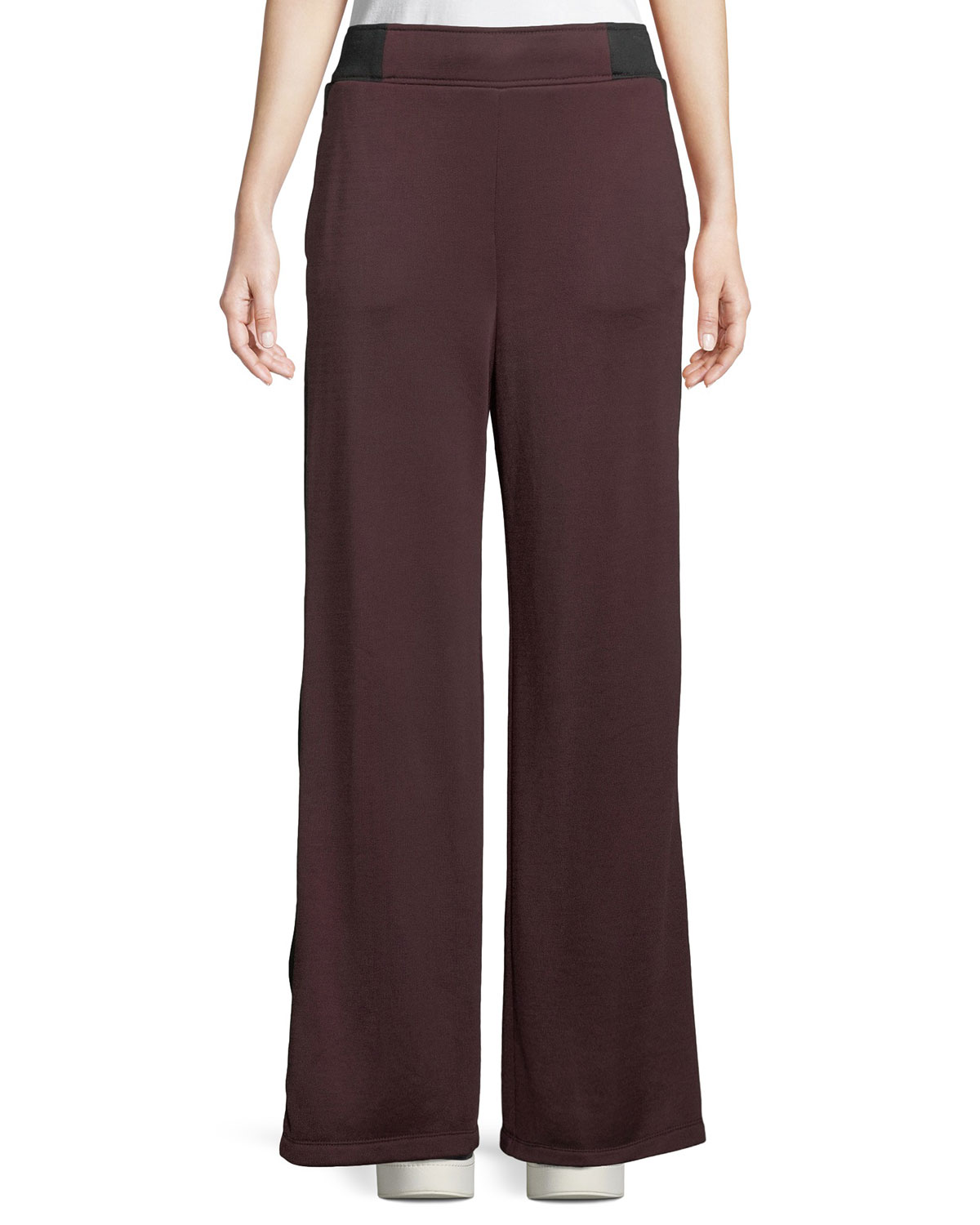Side-Stripe Wide-Leg Terry Sweatpants