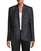 Elie Tahari Tori Hook-Front Metallic Tweed Jacket
