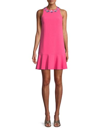 Fizz Mini Dress w/ Embellished Collar