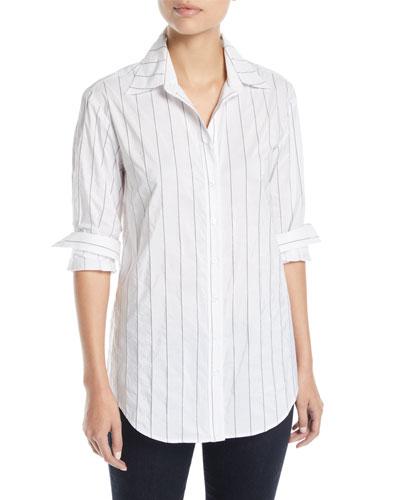 Monica Tech Pinstriped Boyfriend Shirt, Plus Size