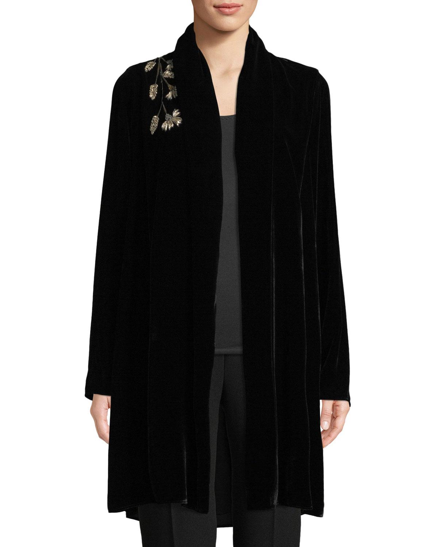 Coley Floral-Embroidered Velvet Jacket