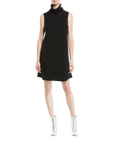 Sonya Turtleneck Sleeveless Merino Wool Satin-Back A-Line Dress
