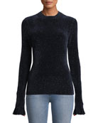 Elie Tahari Embla Crewneck Long-Sleeve Speckled-Knit Sweater