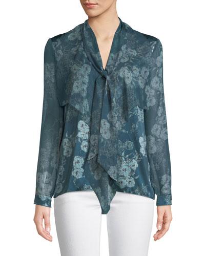 Jurnee Tie-Neck Long-Sleeve Floral-Print Silk Blouse