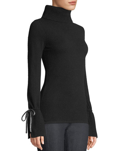Bell-Sleeve Turtleneck Cashmere Sweater