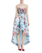 Parker Black Roxanne Strapless High-Low Floral-Print Gown w/