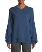 Elizabeth & James Hensley Rib-Trim Cotton Pullover Sweater