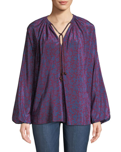 e47215d636caa6 Quick Look. Elizabeth and James · Chance Long-Sleeve Floral Silk Tie-Neck  Top