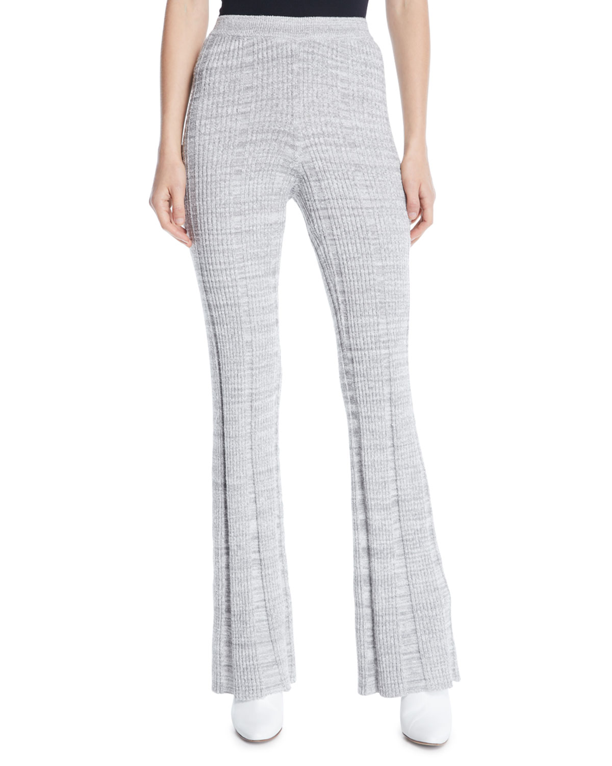 Joan Slim Flare Rib-Knit Pants