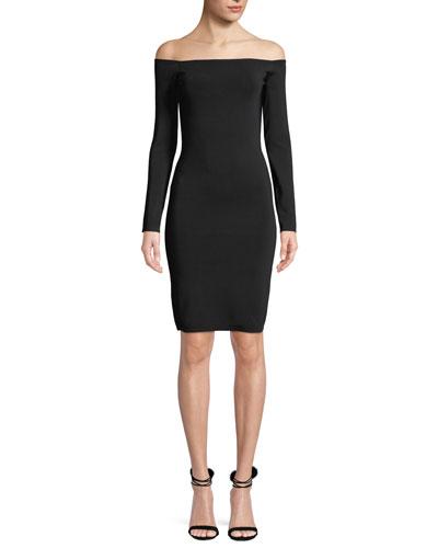 Omorose Off-Shoulder Long-Sleeve Dress