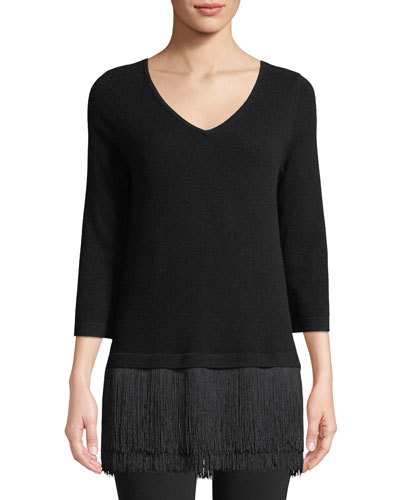 Fringe-Trim V-Neck Cashmere Sweater
