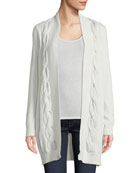 Neiman Marcus Cashmere Collection Metallic Cable-Knit Cardigan