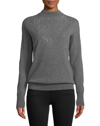 Embellished Mock-Neck Cashmere Sweater