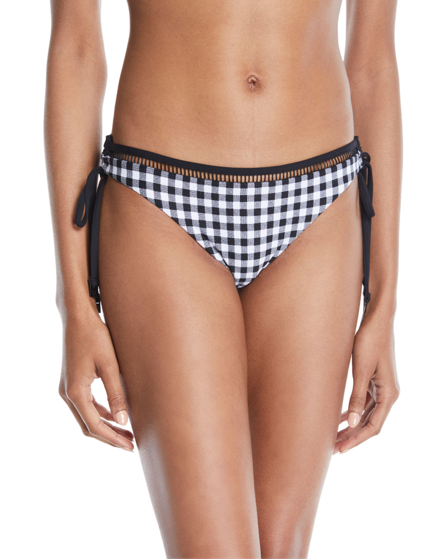 La Belle Loop Tie-Side Gingham Check Hipster Swim Bottoms