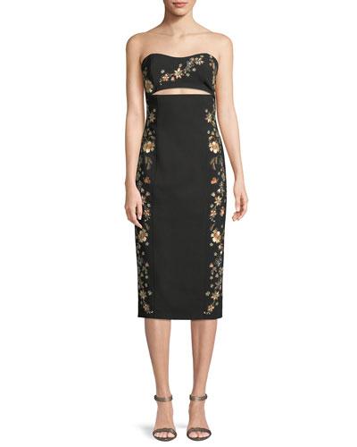 Clemence Strapless Cutout-Waist Crepe Sheath Dress