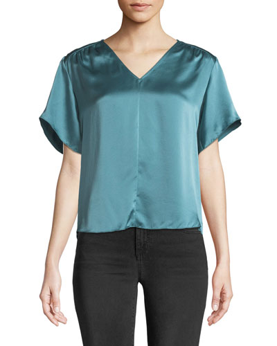 Short-Sleeve Silk Charmeuse V-Neck Top
