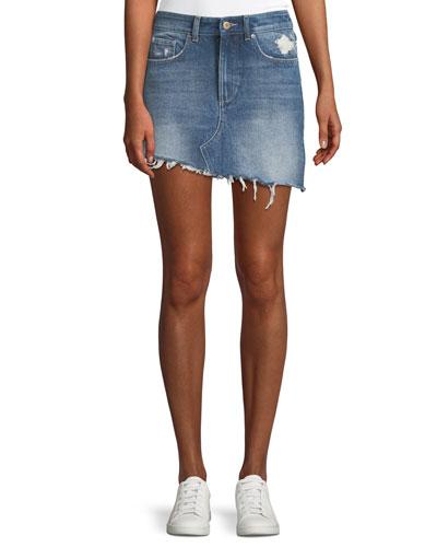 Georgia A-Line Asymmetric-Hem Denim Mini Skirt