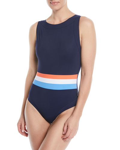 0e8c689a21c97 Quick Look. Shan · Tricolore Open-Back One-Piece Swimsuit