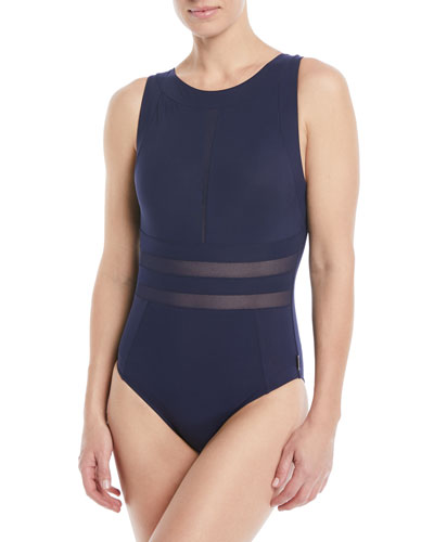 Do You Think I'm Sexy High-Neck One-Piece Swimsuit