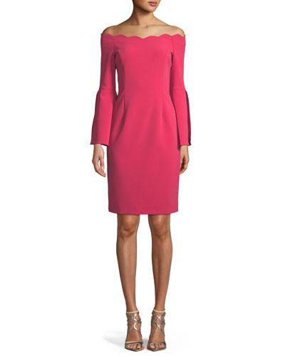 Off-the-Shoulder Scallop Slit-Sleeve Dress