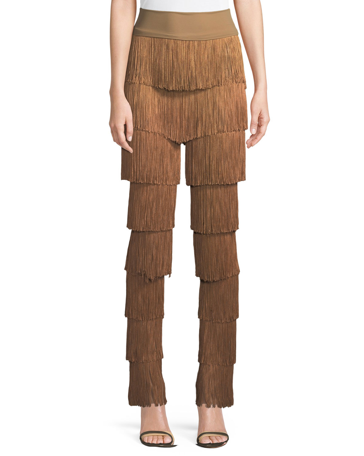 Stretchy All Over Fringe Boot-Cut Pants