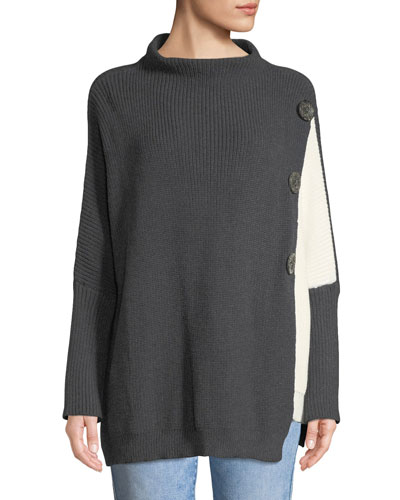 Solstice Two-Tone Lightweight Cotton Pullover Sweater