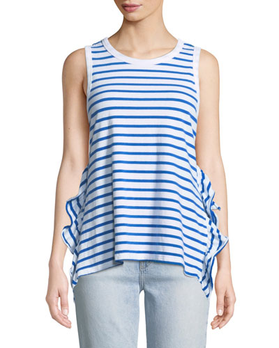 Striped Side-Split Ruffle Muscle Tank