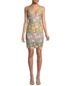 Jovani Floral Sleeveless Mini Dress
