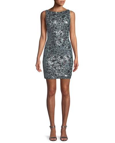 Leopard Sequin Open-Back Mini Dress