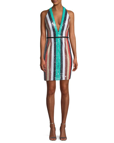 Multicolor Sequin Stripe Mini Dress