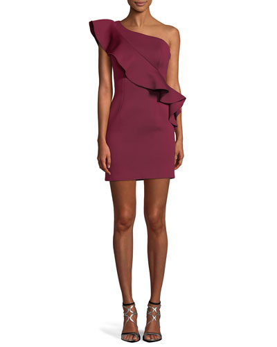 One-Shoulder Asymmetric Ruffle Mini Cocktail Dress