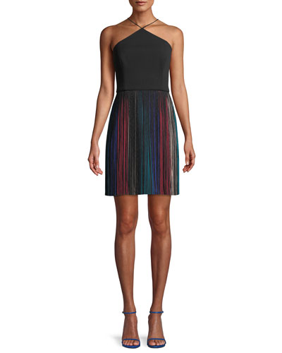 Scuba Crepe & Rainbow Fringe Cocktail Dress