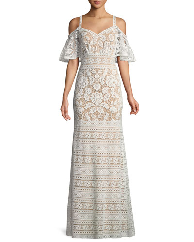 Lace Cold-Shoulder Flutter-Sleeve Gown