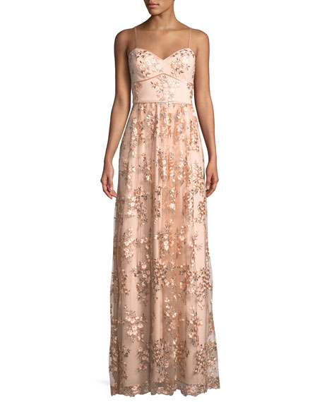 Aidan by Aidan Mattox Floral Embroidered Sweetheart Gown