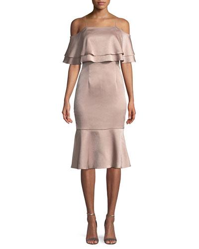 Hammered Satin Layered Cold-Shoulder Dress
