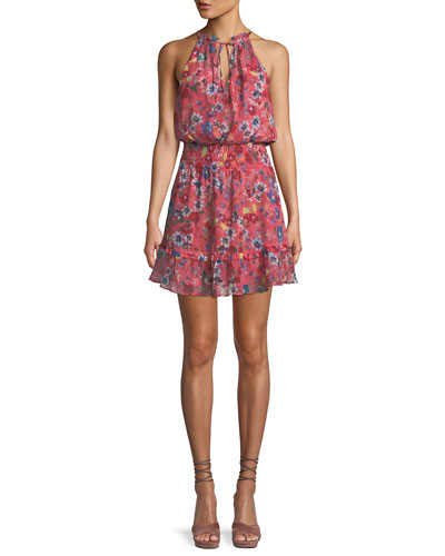 Serenity Floral Silk Mini Dress