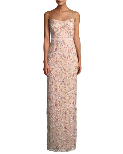 5b01fcfd3c Quick Look. Aidan Mattox · Floral Embroidered Gown ...