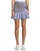 Parker Jordon Flounce Shirting Mini Skirt