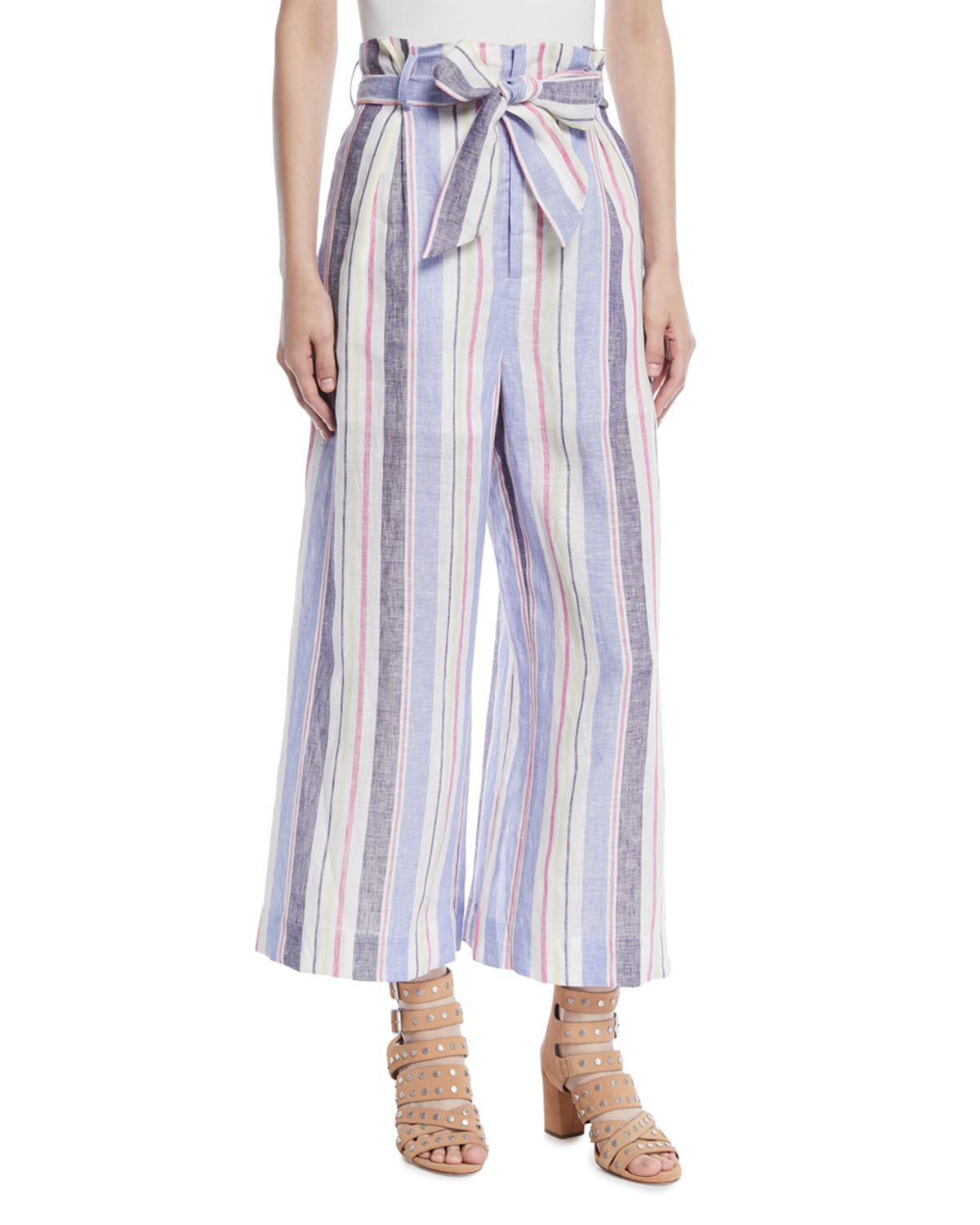 Robbie Belted Striped Linen Pants
