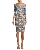 Jovani Metallic Off-the-Shoulder Embroidered Dress