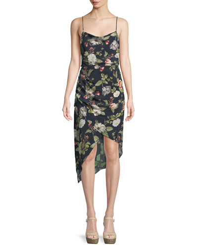 Reena Draped Floral Open-Back Dress