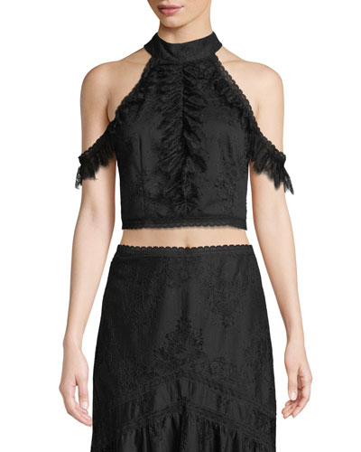 Regina Cold-Shoulder Lace Crop Top