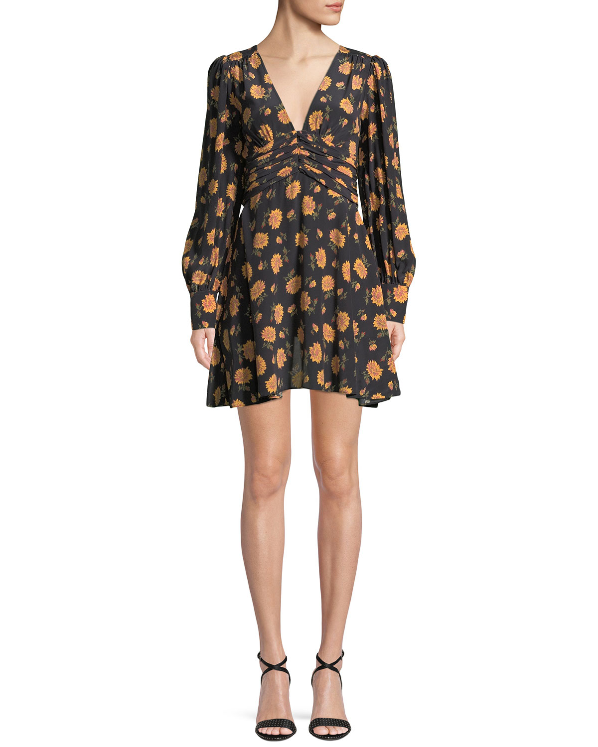 Marion Floral-Print Silk Crepe De Chine Mini Dress, Black Pattern